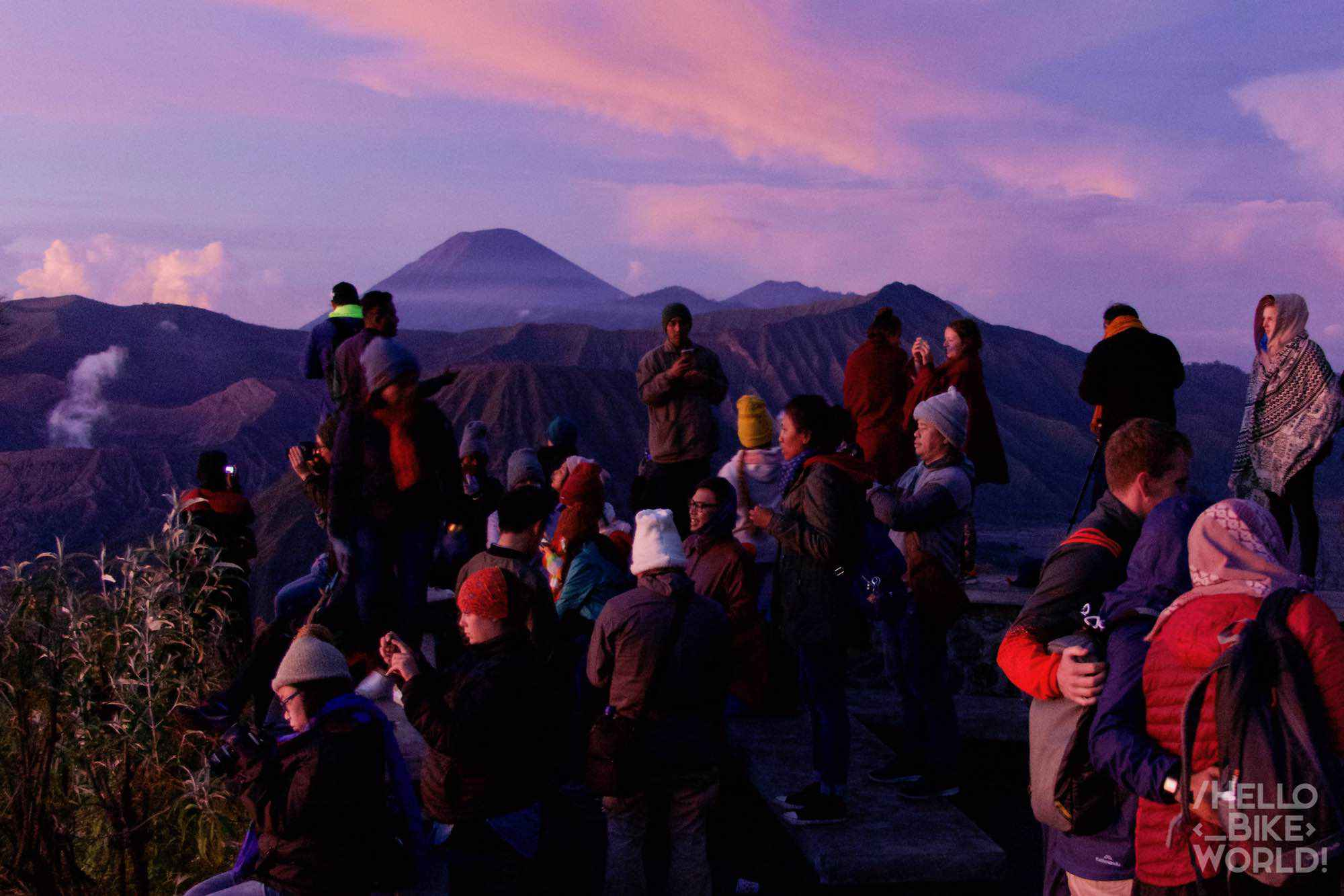 Valiant tourists facing the cold and fatigue for the sunrise over Bromo