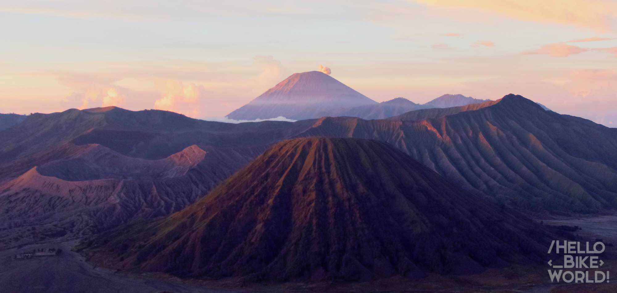 View of the Bromo, Batok and Merapi during sunrise